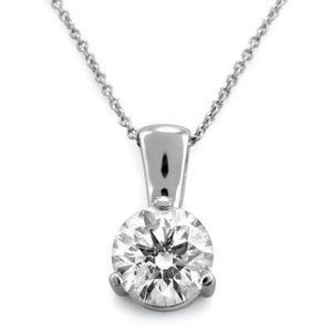 Jewelry - 3 Prong Set Solitaire Round Diamond Women Pendant